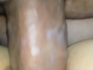 Fucking wifes creamy pussy while using cell to capture