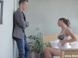 Horny brunette sucks and fucks her man in erotic hardcore scene
