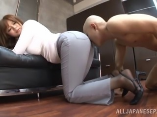A curvy Asian model with a round ass sits on a guy's face