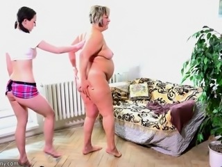 OldNanny Old fat mom is playing with young teen and sextoy strapon sex
