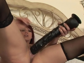 Pornstar milf has big dildo sex that stretches out her tight pussy