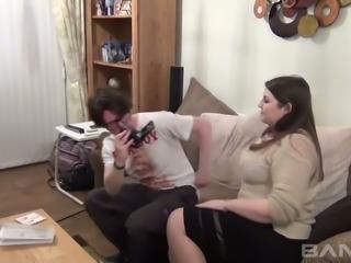 Freaky man films the way his chubby black haired BBW sucks his hard throbbing...