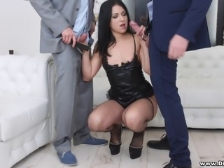 Randy and Brian are about to give Jessica the double penetration