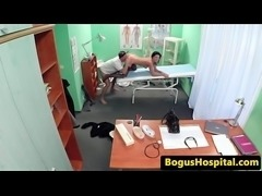 Stockinged nurse cockriding doctor in office