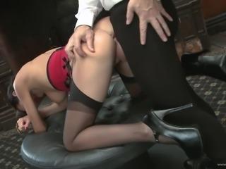 Lovely porn sweetheart Franki gives huge cock a hot titjob