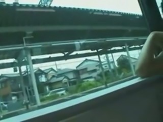 Fucking slutty Asian girl missionary style in a train