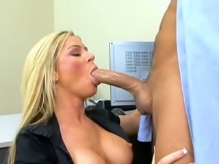 Kinky boss fucks stacked blond MILF Ahryan Astyn in the office tough