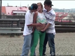 Cute blonde teen Alexis Crystal PUBLIC gang bang threesome