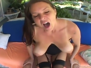 Big breasted brunette mom spreads her legs for another guy
