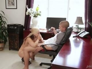 Hard working office slut Sarah Vandella always finds time for sex