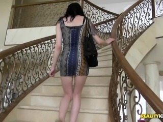 Amateur in a skintight dress goes home with him for dick