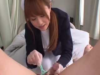 Naughty Japanese nurse Akiho likes riding on patients' cocks