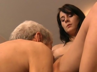 Old prick teaches petite brunette cutie how to fuck