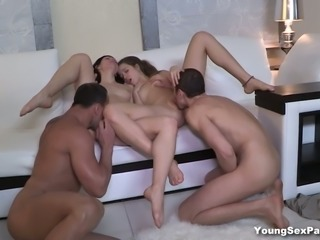 Two perverted couples having sex fun for the first time