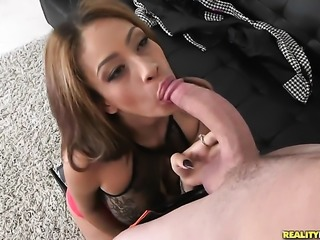 Brunette Jamie Valentine with huge tits and smooth muff eats