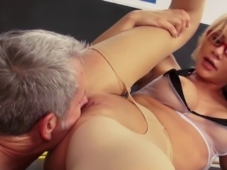 Mature principal gets lucky with an alluring blonde sex bomb