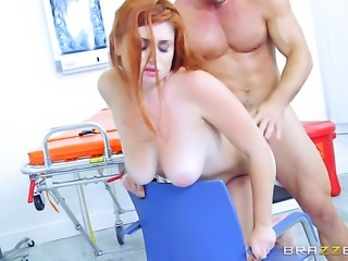 Johnny Castle buries his rock solid sausage in amazingly hot Lennox Luxes mouth