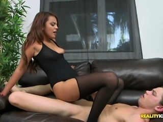 Sassy bitch Zoey Velez blows dick in the car and gets fucked on the black couch