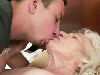 Mature is on fire in steamy oral action with hot guy