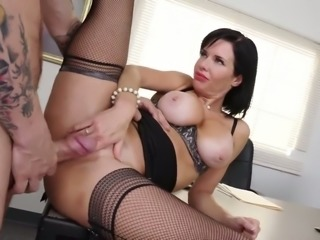 Fierce brunette MILF fucked bad brutally upskirt in a doggy position