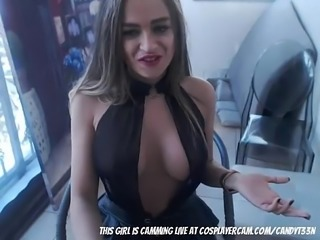 Stripper slut fucking her ass on cam