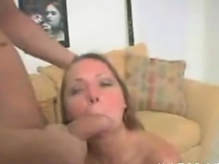 Charming mature babe is sucking a thick and long male dick