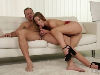 Blonde chick Alexis Crystal attacks a guy for a great shag