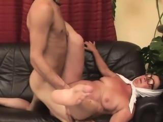 Mature slut rides on a fat rod