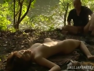 Japanese milf Mei gets her cunt fucked from behind outdoors