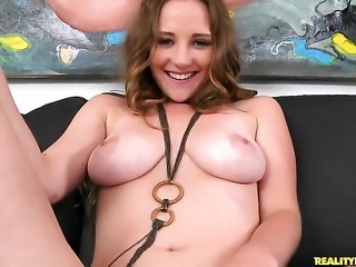 Brunette Sam Summers does lewd things and