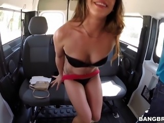 Cute slut gets in the van to get laid in the back seat
