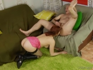 Old fellow makes redhead Natalia's pussy pulsate