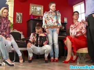 Classy pissdrenched students gangbang fem teacher