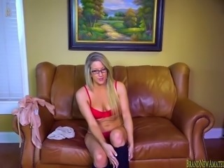 Hot blonde amateur on casting couch masturbating