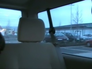 Fucking German slut in her asshole on a back seat in a car