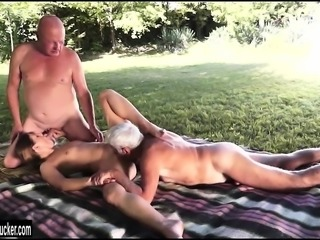Teen Agata sucks off two grandpas outside before shes fucked