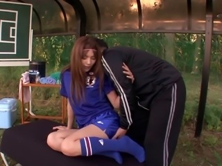 Japanese soccer playing cutie fucked on the field