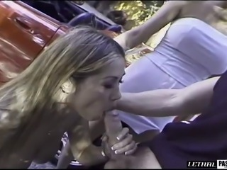 Cowgirl fingering pussy while her anal is pounded hardcore