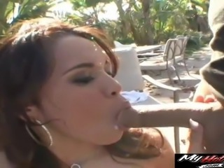 Two guys cover a beauty's face in cum after fucking her hard