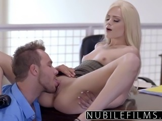 Elsa Jean Gives Boss Messy Blowjob & Swallows