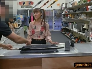 Asian babe sells samurai and fucked hard by pawn keeper