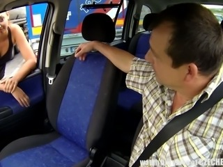 Horny taxi driver fucks his client in missionary position