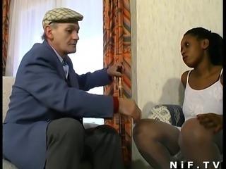 French Papy voyeur fucks a fat black girl