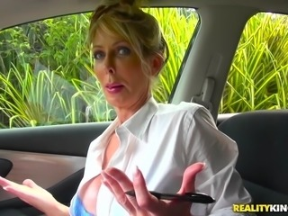 This hot blonde milf was giving me driving lessons, and when I suddenly...