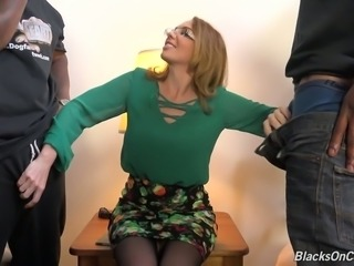 Fabulous white blonde milf with big breasts handles lust of two black men