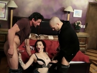 Hot redhead Amber Ivy double teamed by horny guys