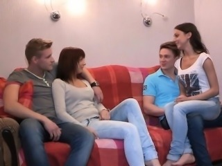 Group pussy-fucking with 2 moist and very naughty bitches
