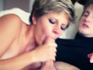 Mature blonde whore sucks big dick and gets fucked hard