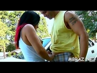 Brazilian mamita sucks hard shlong