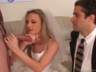 Blonde bride licking and sucking a stranger's big cock